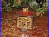 Original Antique Vtg Cast Iron J & E Stevens Cupola Building Still Penny Bank