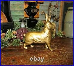 Original Antique Vtg Williams Cast Iron Standing Bunny Rabbit Penny Still Bank