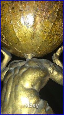 Original Atlas Cast Iron Mechanical Bank Globe Money Moves The World