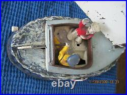 Original & Authentic Cat Boat Mechanical Bank Cast Iron Made In USA