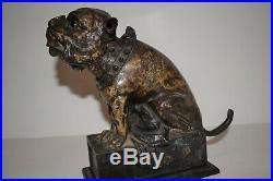 Original Bull Dog Cast Iron Mechanical Bank, Pat. 1880, Works, No Reserve