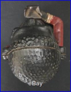 Original C. 1900 Cast Iron Working Mechanical Jolly N Bank Box Made In USA