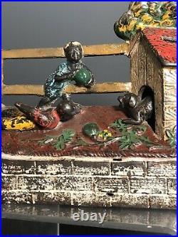 Original Cast Iron Boys Stealing Watermelon Mechanical Bank Kyser & Rex 1885