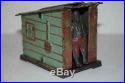 Original Cast Iron Cabin Mechanical Bank Excellent First Paint, Working 1885