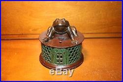 Original Cast Iron Frog on Round Base Mechanical Bank by J & E Stevens cir 1872
