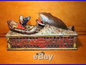 Original Cast Iron JONAH & THE WHALE Mechanical Bank by Shepard Hardware c1890