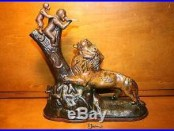 Original Cast Iron Lion & 2 Monkeys Mechanical Bank by Kyser & Rex c. 1883 with Key