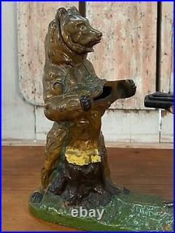 Original Cast Iron Mechanical Bank Indian Shooting Bear J & E Stevens Co 1888