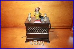 Original Cast Iron Monkey Organ Mechanical Bank by Kyser & Rex c. 1881 Cat & Dog