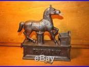 Original Cast Iron Trick Pony Mechanical Bank by Shepard Hardware c. 1885 w Key