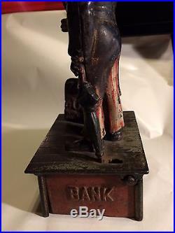 Original Cast Iron Uncle Sam Mechanical Bank Pat. 1886 Original Paint