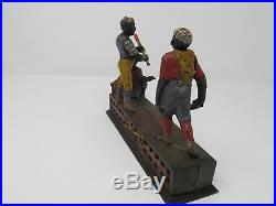 Original Darktown Battery Cast Iron Mechanical Bank By J. & E. Stevens