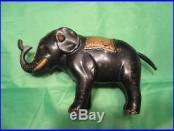 Original ELEPHANT-THREE STARS Mechanical Bank Cast Iron Antique Americana Toy
