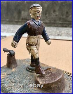 Original JOHN HARPER FOOTBALL BANK Mechanical Cast Iron Money Box ENGLAND 1895