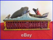 Original JONAH AND THE WHALE Mechanical Bank Cast Iron Antique
