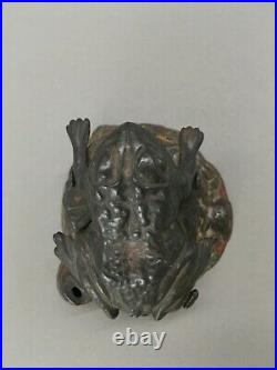 Original J&E Stevens Toad on Stump Cast Iron Mechanical Coin Bank