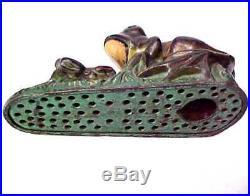 Original J. & E. Stevens Two Frogs Cast Iron Mechanical Bank