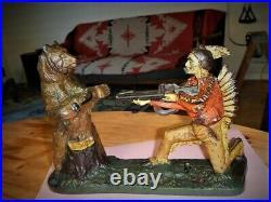 Original J E Stevens mechanical cast iron bank Bear Hunt good-very good cond