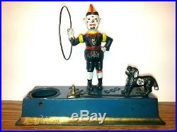 Original Paint 1920's Hubley Cast Iron Mechanical Trick Dog Coin Bank