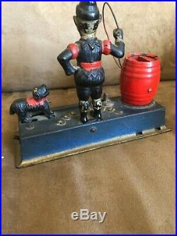 Original Painted Antique Cast Iron Trick Dog Mechanical Bank by Hubley