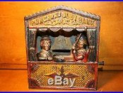 Original Painted Cast Iron Punch & Judy Mechanical Bank Shepard Hardware c. 1884