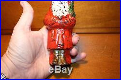 Original Painted Cast Iron Santa With Tree Bank by Hubley cir 1914 Christmas Toy
