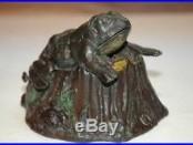 Original Toad On Stump Cast Iron Mechanical Bank, Extra Nice & No Reserve