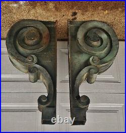 Pair Antique Large Cast Iron Scroll Corbels Bank, building Architectural salvage
