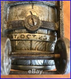 RARE 1894 White City Cast Iron Puzzle Savings Barrel Bank #1 Chicago Nicol & Co
