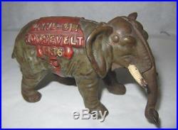 Rare 1936 Landon Roosevelt Kenton Cast Iron Political Elephant Not Bank Toy
