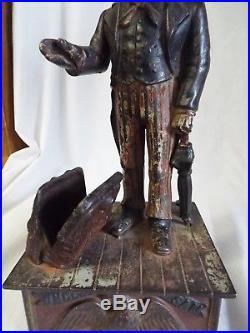 RARE Antique 1880s SHEPARD HARDWARE Cast Iron UNCLE SAM MECHANICAL BANK -WORKS-