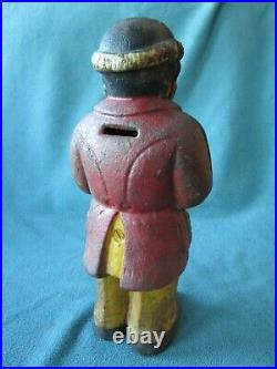 RARE OLD Vintage Cast Iron Bank Black African Man Americana Top Hat original OLD