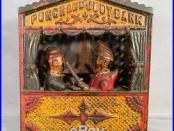 RARE ORIGINAL PAINT 1884 PUNCH & JUDY CAST IRON MECHANICAL BANK