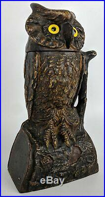 RARE Original 1880 J & E Stevens OWL Cast Iron Mechanical Bank, Glass Eyes
