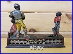 RARE Original Cast Iron Darktown Battery Mechanical Bank 1889 J&E Stevens AS-IS