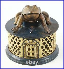 RARE Original Frog On Lattice Cast Iron Mechanical Bank by J&E STEVENS and CO