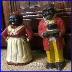 RARE Pair of Antique Authentic Cast Iron Black Americana Banks HEAVY
