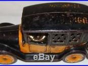 RARE VINTAGE 1920s ARCADE CAST IRON TOY TAXI YELLOW CAB CO. CAR COIN STILL BANK