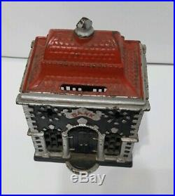 R. W. Red Roof Bank Cast Iron Still Bank