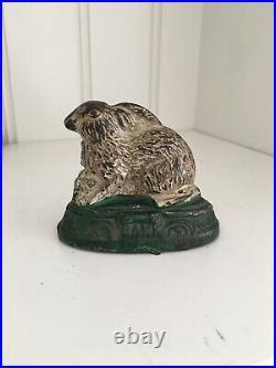 Rabbit On Base Antique Still Cast Iron Bank 1884