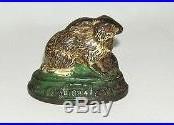 Rabbit on Base 1884 Cast Iron Still Bank NO RESERVE (DAKOTApaul)