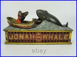 Rare 1890 Shepard Jonah And The Whale Mechanical Cast Iron Coin Bank Original