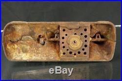 Rare 1912 J&e Stevens Cast Iron Boy Scout Camp Mechanical Coin Bank Vintage