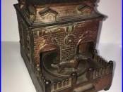 Rare Antique Cast Iron Mechanical Bank HL Judd Dog On Turntable & Building