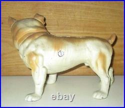 Rare Antique English Bulldog Cast Iron Hand Painted Doorstop Bank