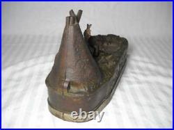 Rare Antique J E Stevens Chief Big Moon Cast Iron Mechanical Bank Indian Teepee