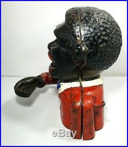 Rare Antique LITTLE JOE Cast Iron Mechanical Money Bank Black Americana