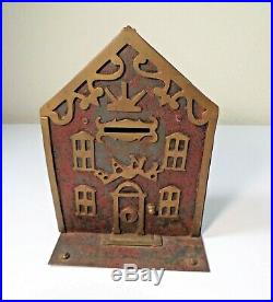 Rare Antique Victorian Painted Cast Iron Building Still Bank