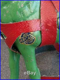 Rare Arcade Toys Cast Iron Still Bank Deer Buck Original Label & Green Paint