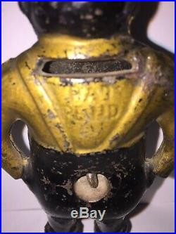Rare Cast Iron GIVE ME A PENNY Bank With Turn Key